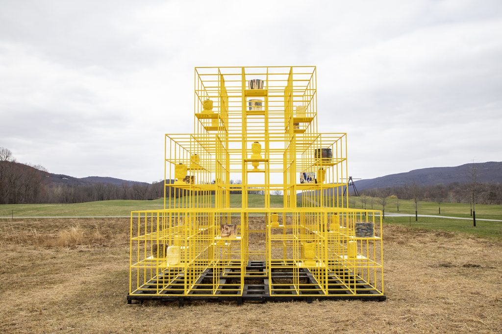 Rashid Johnson, <em>The Crisis</em> (2019) installation view at Storm King Art Center, courtesy of the artist and Hauser & Wirth. Photo by Stephanie Powell, courtesy of Storm King Art Center.