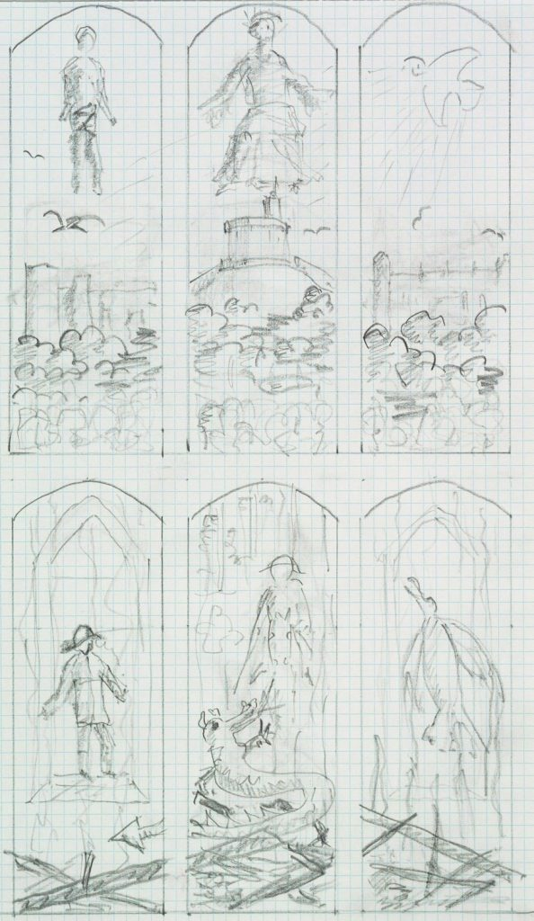 Prince Philip's sketches for the stained glass windows for a private chapel at Windsor Castle. Courtesy of the Royal Collection Trust.