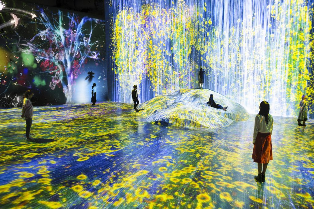 """teamLab, <i>Universe of Water Particles on a Rock where People Gather</i> (2018). Installation at Mori Building Digital Art Museum, teamLab """"Borderless."""" Courtesy of teamLab and Pace Gallery."""