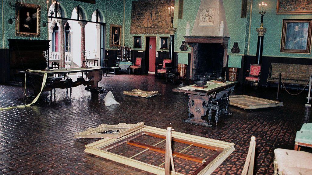 A crime scene photograph from the Isabelle Stewart Gardner heist, in <em>This is a Robbery: The World's Biggest Art Heist</em>. Courtesy of Netflix ©2021.