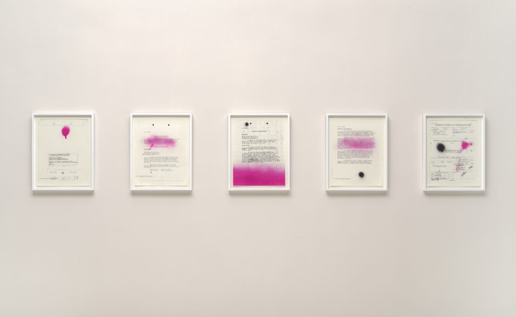 Sadie Barnette, <i>My Father's FBI File; Government Employees Installation</i> (2017). Courtesy of the Solomon R. Guggenheim Museum, New York.