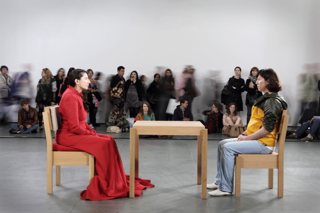 Marina Abramović, The Artist is Present (2010). Courtesy of the artist and Sean Kelly Gallery,.