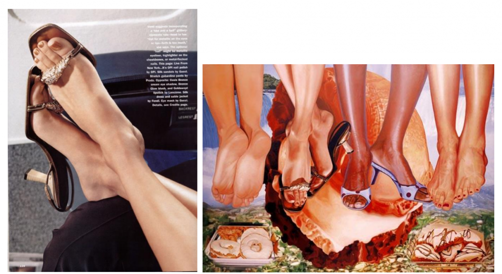 Left, a magazine advertisement used in Jeff Koons's Niagra (2000). Courtesy of the Solomon R. Guggenheim Museum, New York.