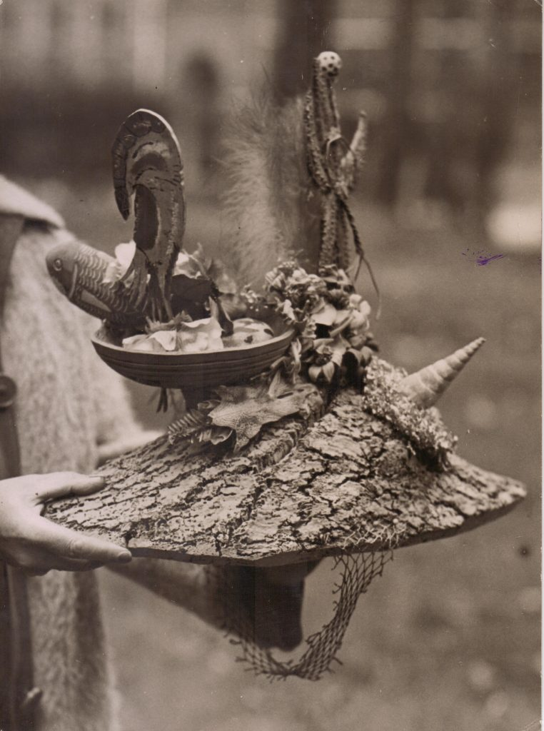 "Photograph of ""Ceremonial Hat for Eating Bouillabaisse."" 1936. © The estate of Eileen Agar."