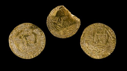 Medieval coin hoard: three gold coins of Edward III and Richard II.© Amgueddfa Cymru–National Museum Wales.