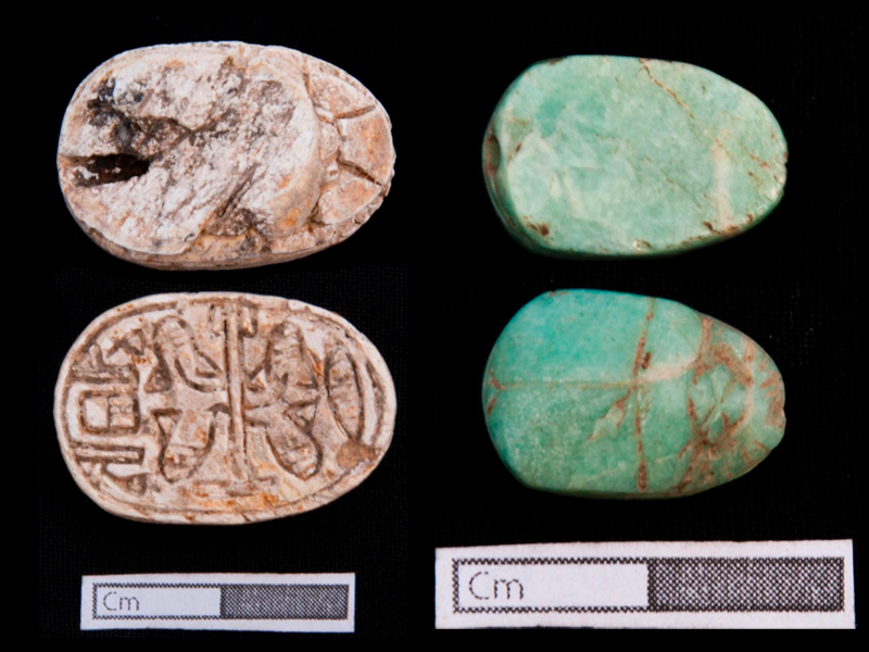 Scarab amulets from the archeological site of 110 tombs at the Nile Delta. Photo courtesy of the Egyptian Ministry of Tourism and Antiquities.