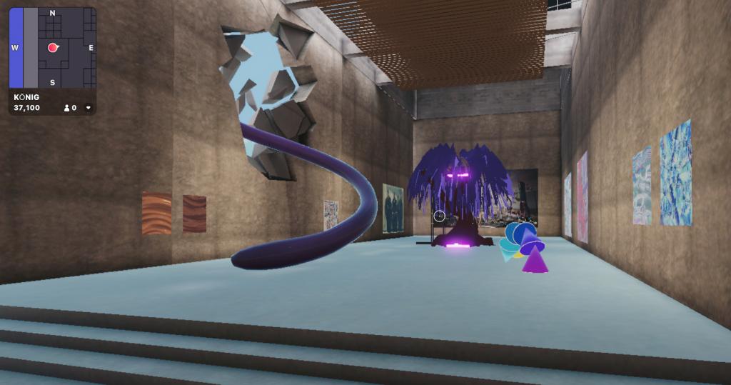 A scene inside KÖNIG GALERIE in the virtual world of Decentraland. Courtesy of KÖNIG GALERIE.