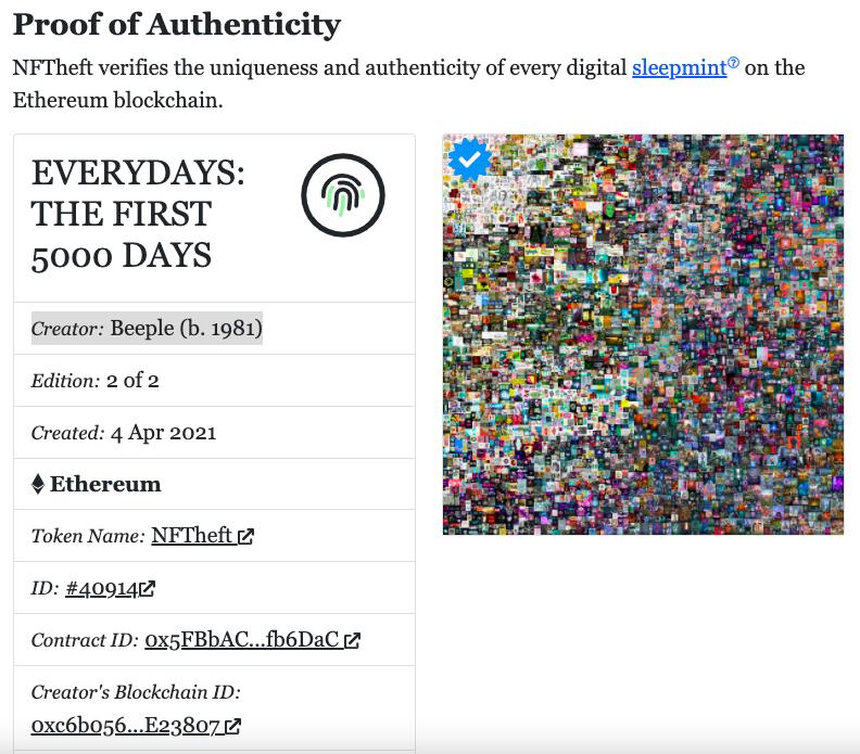 "Screen grab of the NFTheft website showing details of the ""sleepminted"" token."