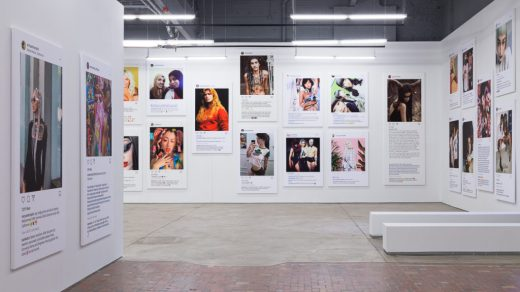 "Installation view of Richard Prince's exhibition ""Portraits"" at the Museum of Contemporary Art Detroit. Photo courtesy of MOCAD."