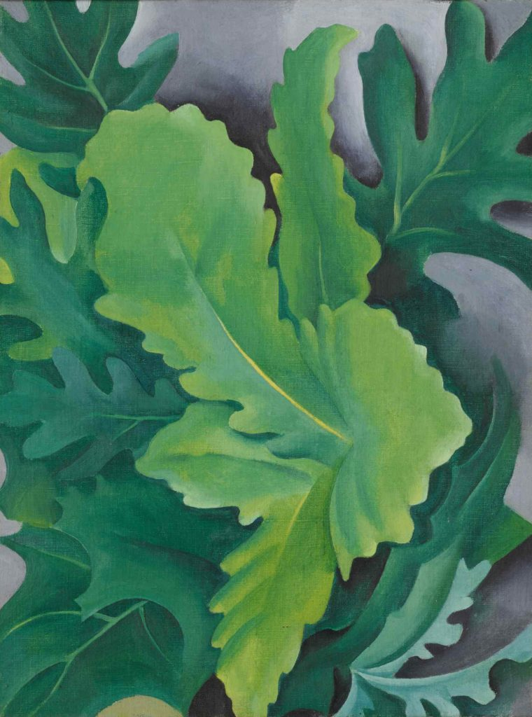 Georgia O'Keeffe, Green Oak Leaves (ca. 1923). Courtesy of Sotheby's.