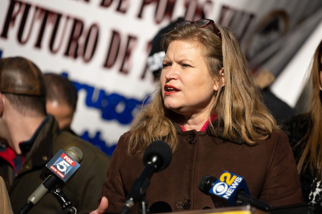 New York City Sanitation chief and mayoral candidate, Kathryn Garcia, speaks at the New York State Latino Restaurant, Bar, and Lounge Association restaurant rally in Times Square on December 15, 2020 in New York City. Photo: Alexi Rosenfeld/Getty Images.