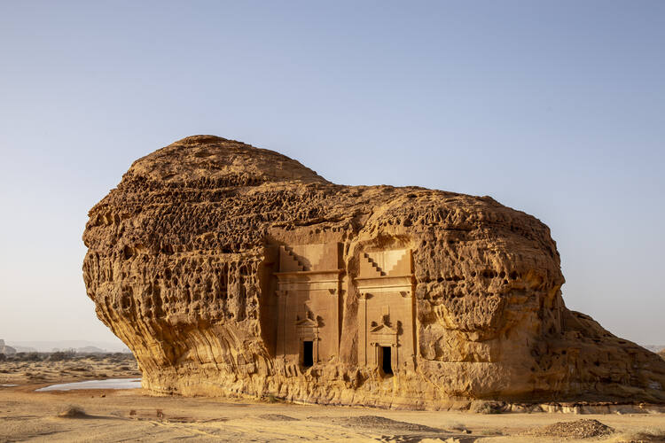 Archaeological Site of Al-Hijr (Mada'in Saleh), or Hegra, which in 2008 became Saudi Arabia's first UNESCO World Heritage Site. The 2,000-year-old city is part of the nation's plans to turn AlUlah into an international destination for arts tourism. Photo ©Royal Commission for AlUla.