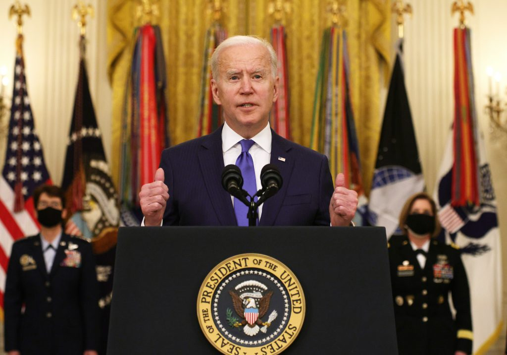 President Joe Biden delivers remarks on International Women's Day in the White House in Washington, DC. Photo by Alex Wong/Getty Images.