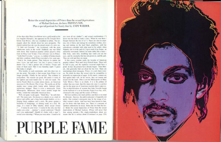 Andy Warhol's Prince illustration based on the Lynn Goldsmith photograph as it appeared in Vanity Fair, here reproduced in court documents.