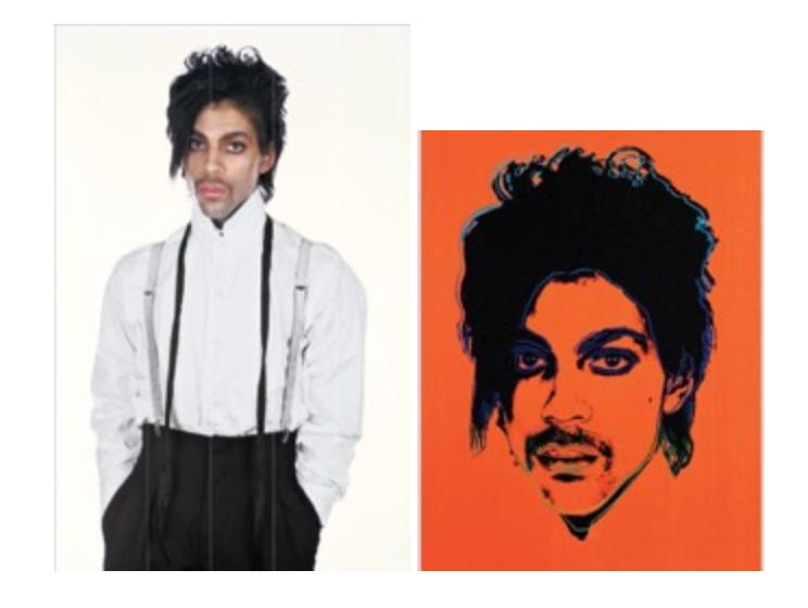 Right: Lynn Goldsmith's original photograph of Prince; left: Andy Warhol's <i>Orange Prince</i>