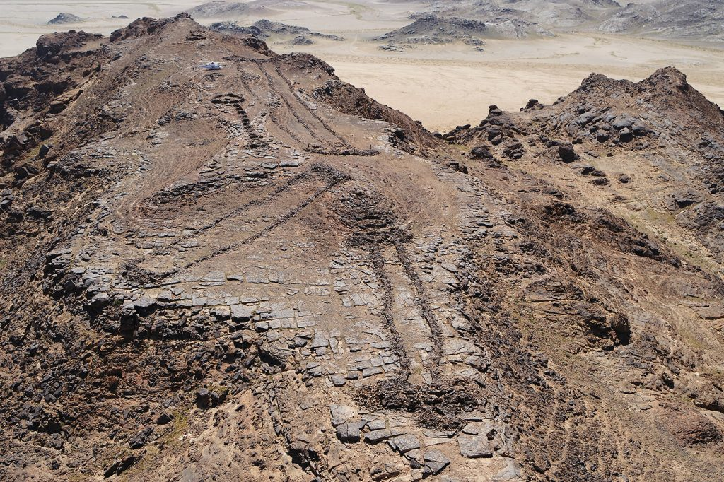 Three monumental mustatils and a later funerary 'pendant' located atop a rocky outcrop on the border of Khaybar and AlUla counties. Photo courtesy of the Royal Commission for AlUla.