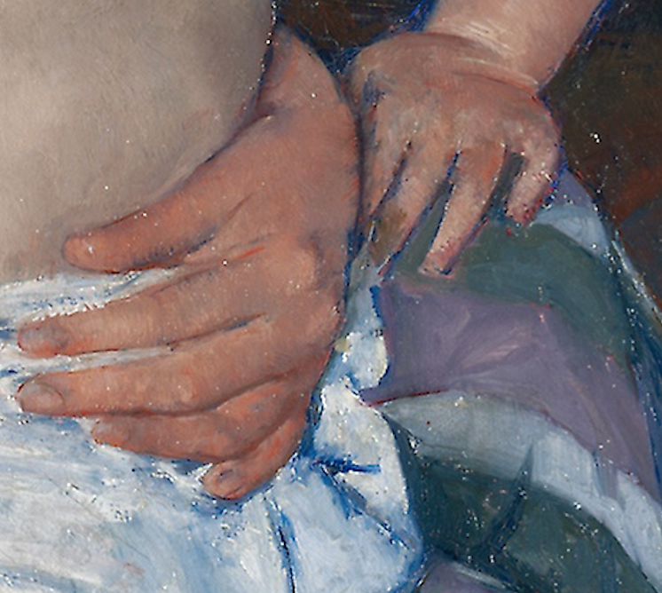 Detail of The Child's Bath (1893) by Mary Cassatt.