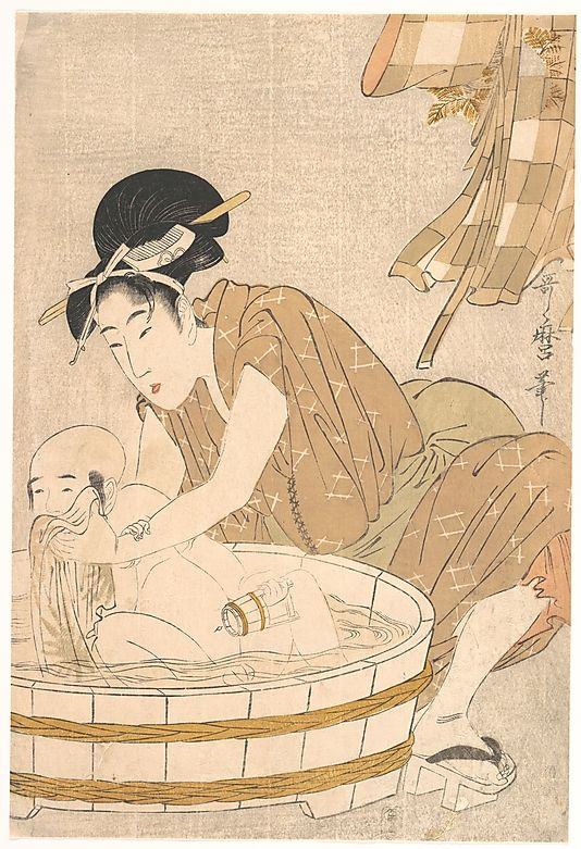 Kitagawa Utamaro, Bathtime (Gyōzui) (circa 1801). Collection of the Metropolitan Museum of Art.
