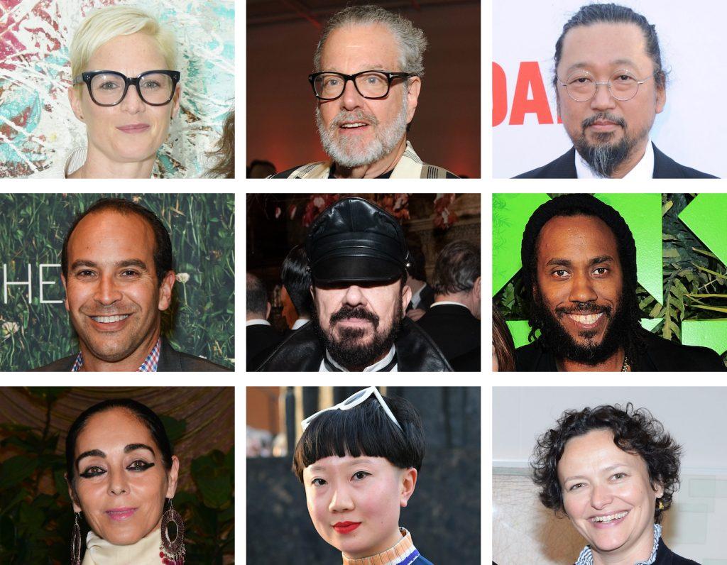 Helen Toomer. Howard Rachofsky. Takashi Murakami. Bernard Lumpkin. Peter Marino. Rashid Johnson. Shirin Neshat. Jiajia Fei. Ceclia Alemani. Photo courtesy of Patrick McMullan.