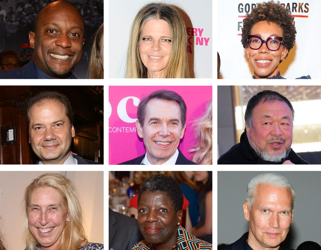 Hank Willis Thomas. Yvonne Force Villareal. Amy Sherald. Max Hollein. Jeff Koons. Ai Weiwei. Lisa Phillips. Thelma Golden. Klaus Biesenbach. Photo courtesy of Patrick McMullan.