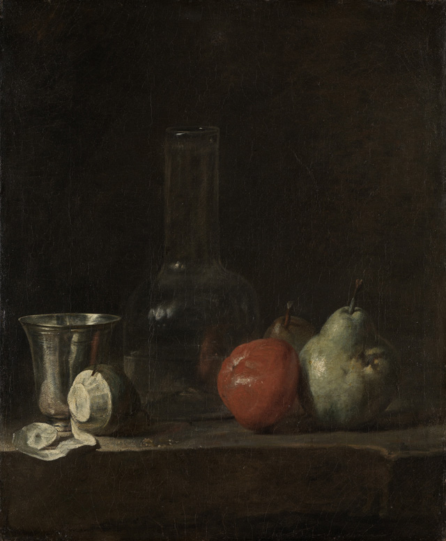 Jean-Baptiste-Siméon Chardin, <i>Still Life with Glass Flask and Fruit (ca. 1728)</i> . Courtesy of Staatliche Kunsthalle.