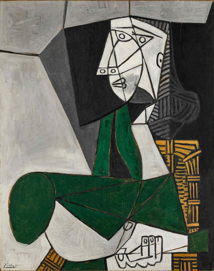 Pablo Picasso, <i>Femme assise en costume vert</i> (1953). Image courtesy Sotheby's.