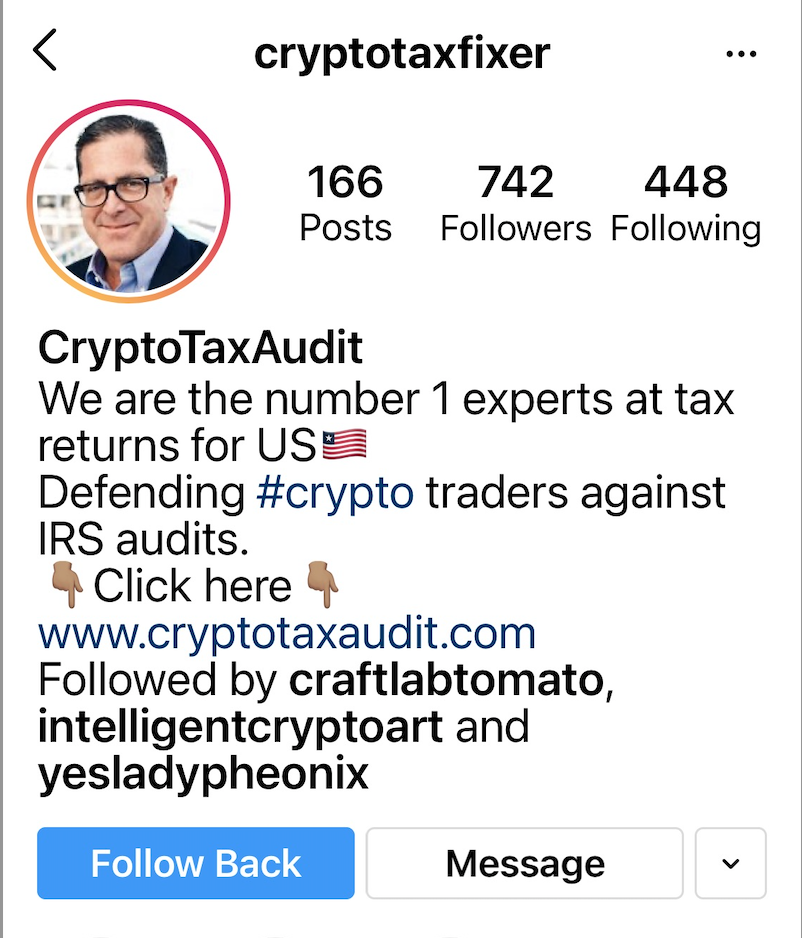 The self-proclaimed crypto-tax fixer, sure to be the accounting world's busiest man! Courtesy of Kenny Schachter.