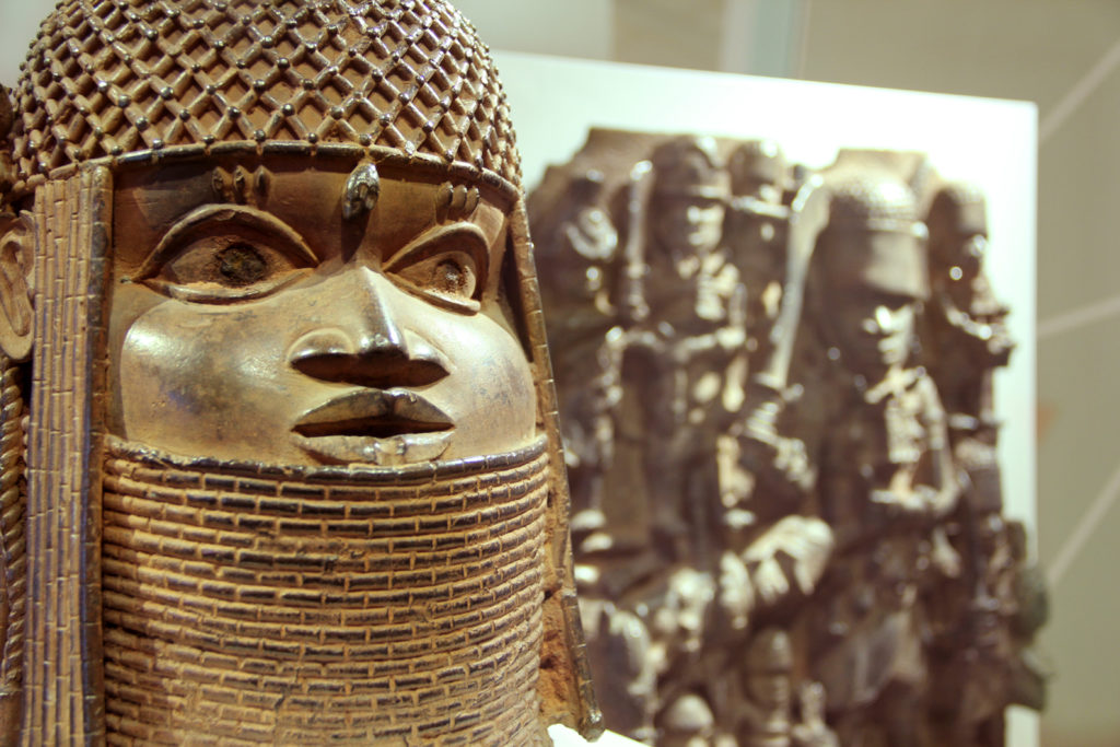 """Exhibition view of """"Looted Art? The Benin Bronzes"""" at MKG in Hamburg. Photo by Michaela Hille."""