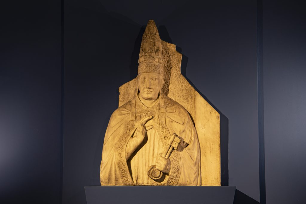 Arnolfo di Cambio's <i>Bust of Pope Boniface VIII</i>. On loan from Vatican City, Fabbrica di San Pietro in Vaticano.