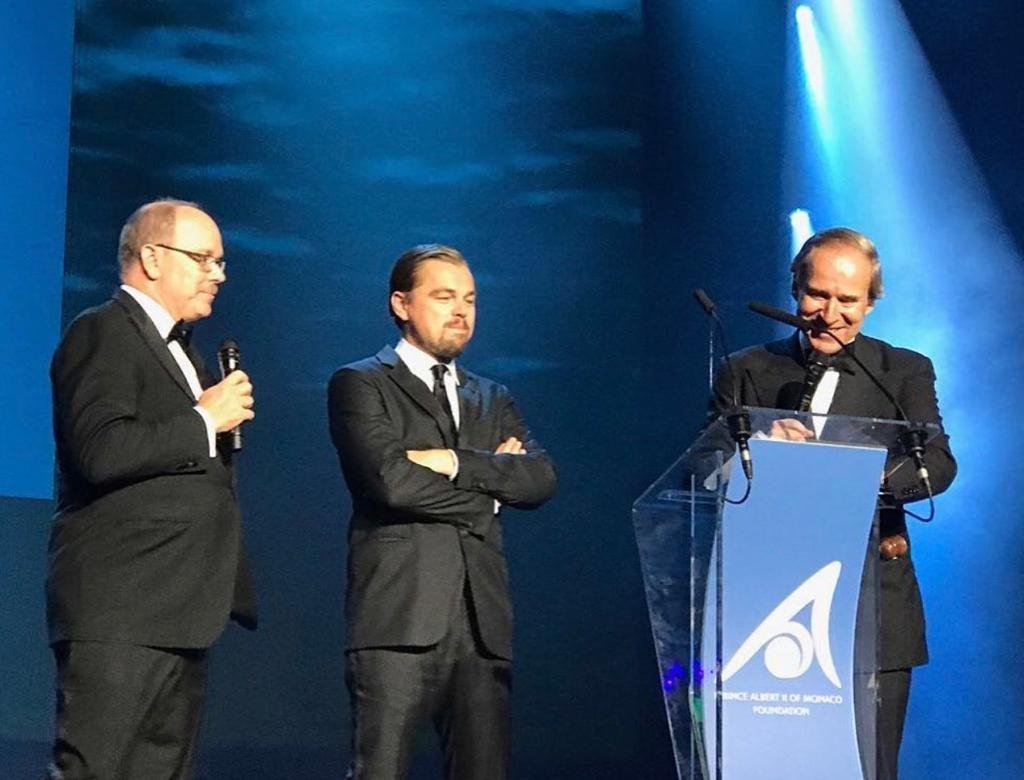 Prince Albert II of Monaco, Leonardo DiCaprio, and Simon de Pury attend the Gala for the Global Ocean. Courtesy Simon de Pury.