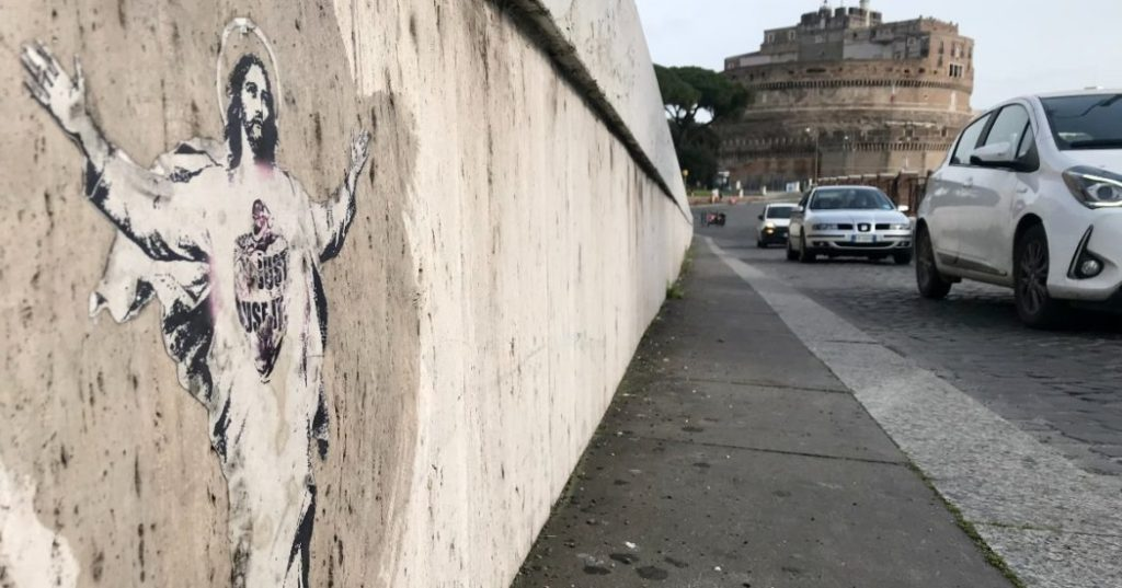 The Vatican turned his Alessia Babrow street art piece, seen here near the Vatican, into a 2020 Easter stamp without her consent. Photo by Alessia Babrow.