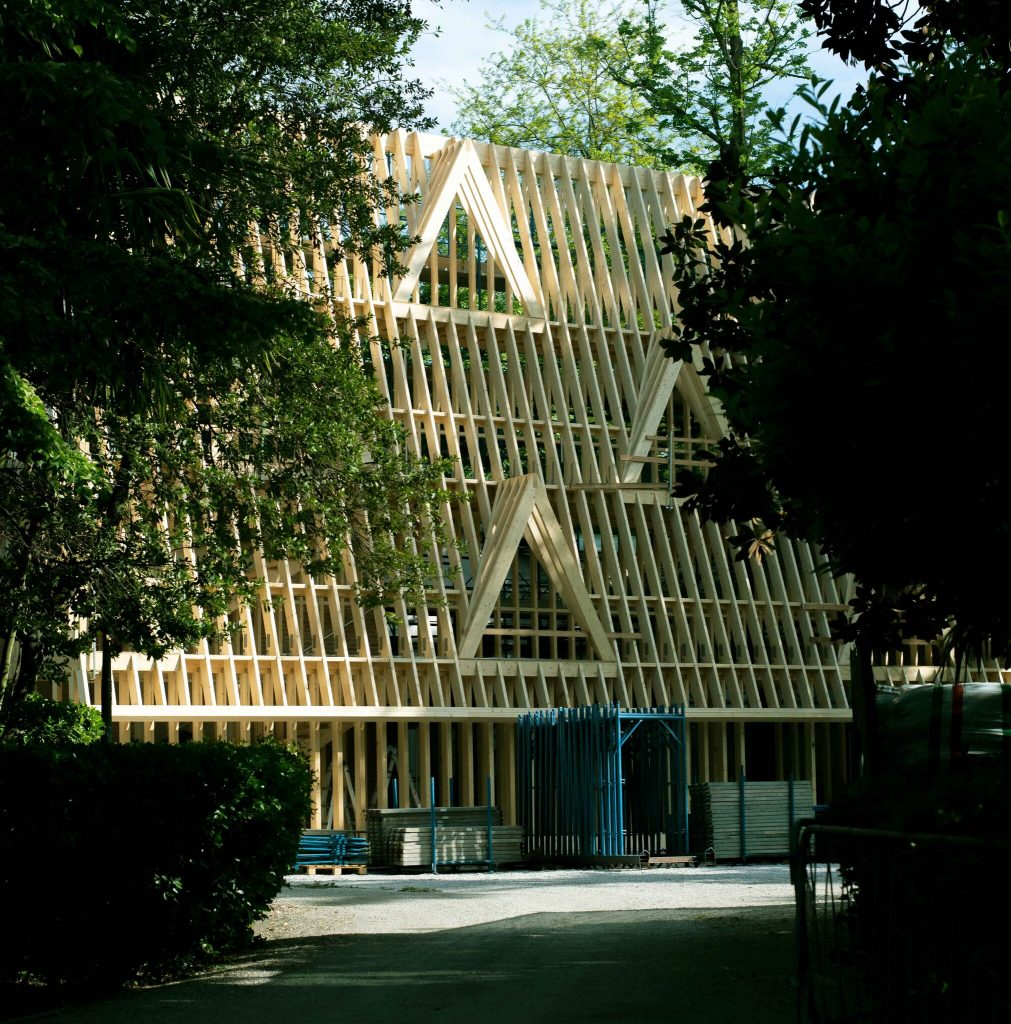 A frame-only wooden structure has been built in front of the U.S. pavilion at the Venice Architecture Biennale. Photo courtesy of Paul Andersen and Paul Preissner.