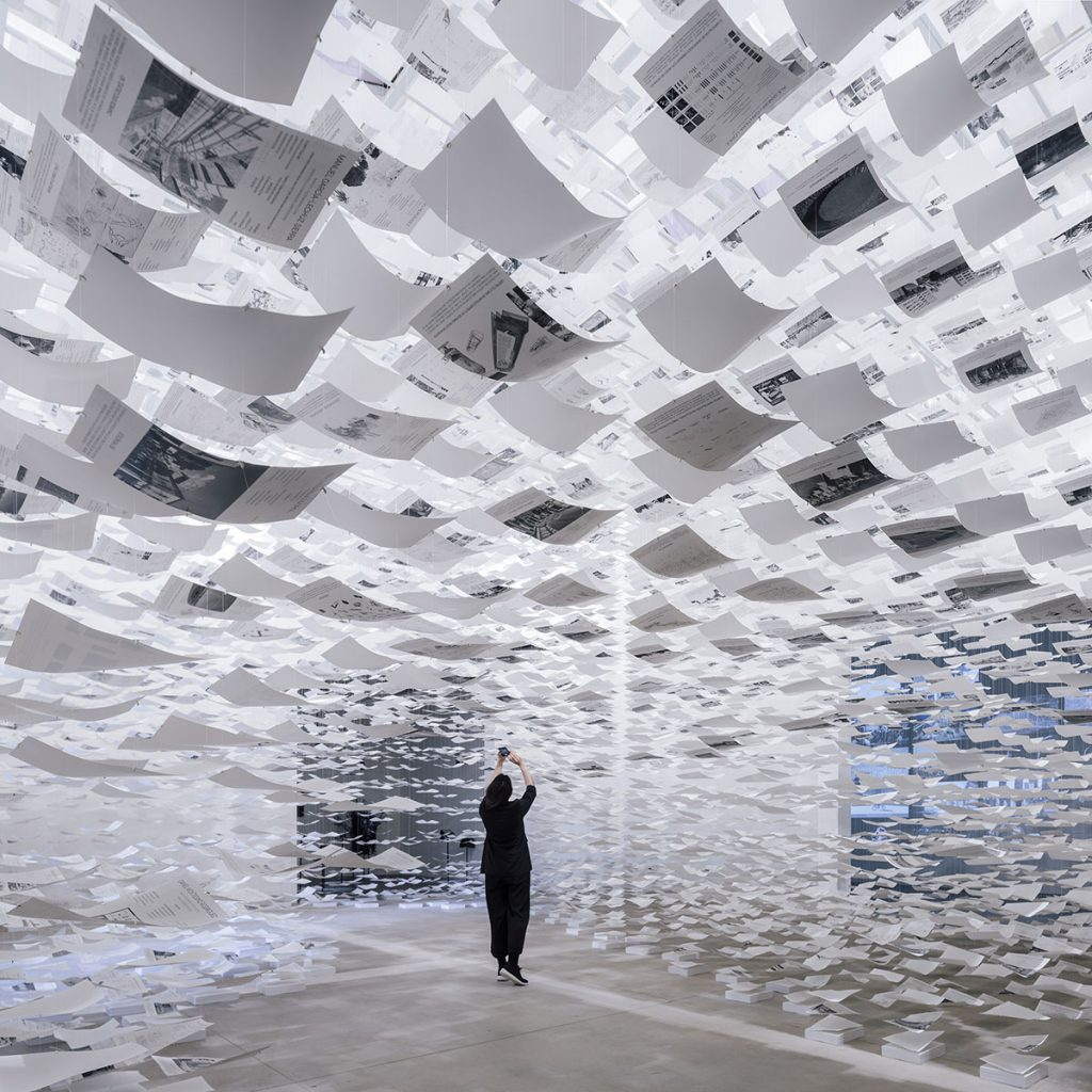 """Installation view of the Spanish Pavilion's presentation titled """"uncertainty.' Courtesy of the Spanish Pavilion."""