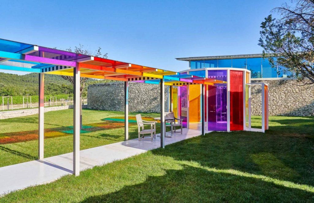 An installation by Daniel Buren at the Château La Coste in Provence. Courtesy of the hotel.