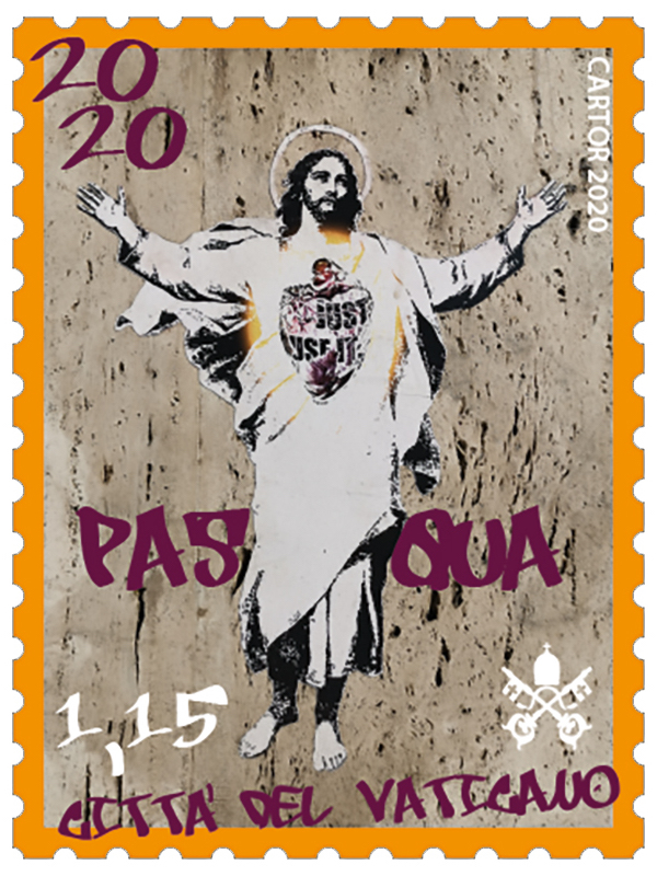The Philatelic and Numismatic Office of the Vatican City State didn't ask permission to use Alessia Babrow's street art based on a 19th century Heinrich Hoffmann painting for a 2020 Easter stamp. Image courtesy of the Philatelic and Numismatic Office of the Vatican City State.