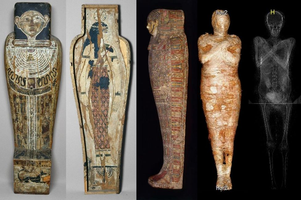 The world's first pregnant mummy, as seen in photographs and scans. Photo courtesy of the Warsaw Mummy Project.