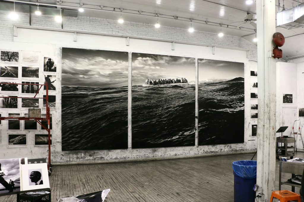 A view of Longo's studio, with <i>Untitled (Raft at Sea)</i> (2017) on view. Courtesy of the artist and Metro Pictures, New York.