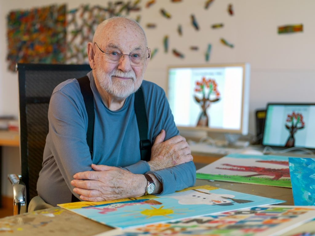 Children's book author Eric Carle photographed in his North Carolina studio in 2015. Photo by Jim Gipe, Pivot Media, ©Eric Carle Studio.
