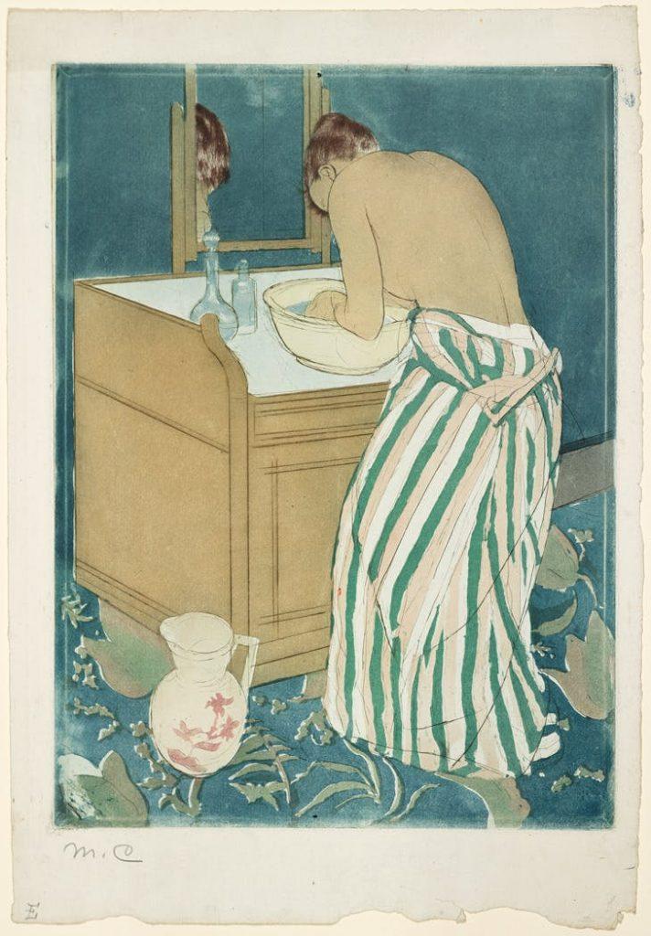 Mary Cassatt, Woman Bathing (1891). Collection of the Metropolitan Museum of Art.