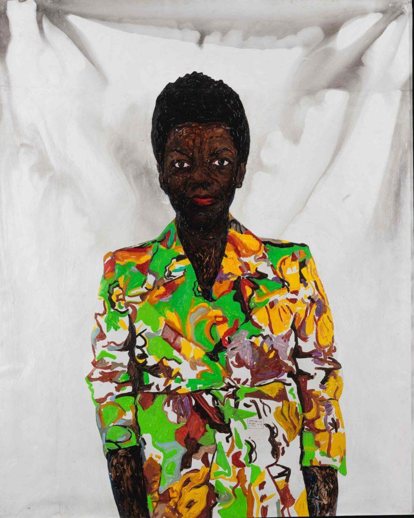 Amoako Boafo, Thelma in Colored Blazer (2018). Courtesy of Sotheby's.