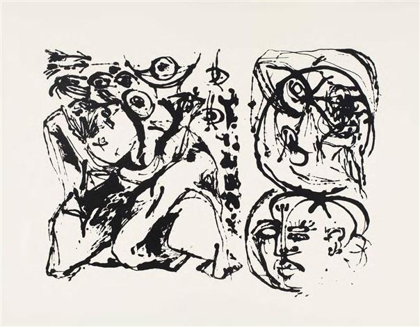 Jackson Pollock, Silkscreen (Set of 6: 3 of 6) (1951). Courtesy of Barbara Mathes Gallery.
