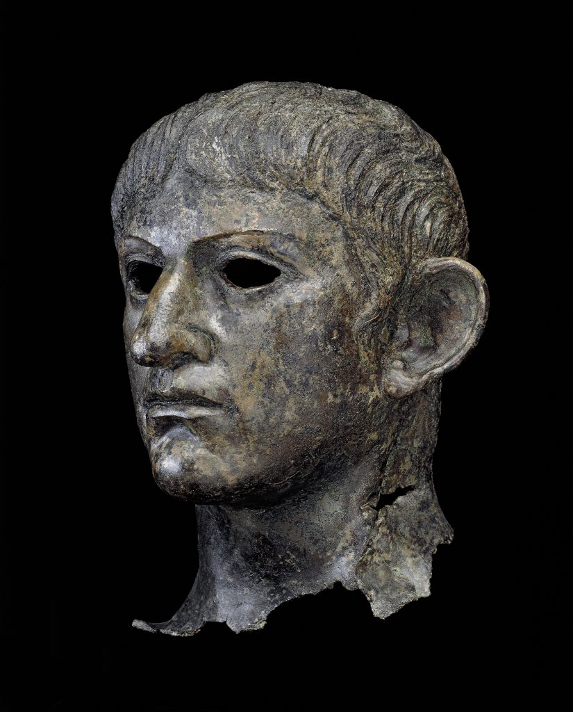 Head from a copper statue of the emperor Nero. Found in England, AD 54– 61. © The Trustees of the British Museum.