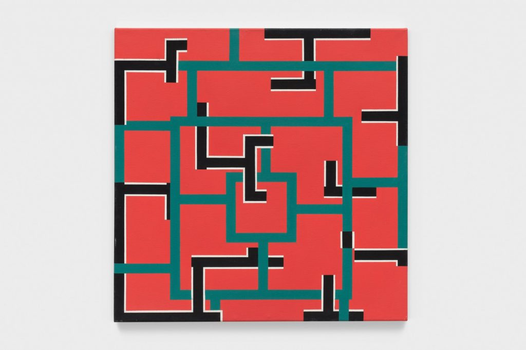 Mary Webb, Red, Green, Black and White (1976). Courtesy of Hales Gallery.