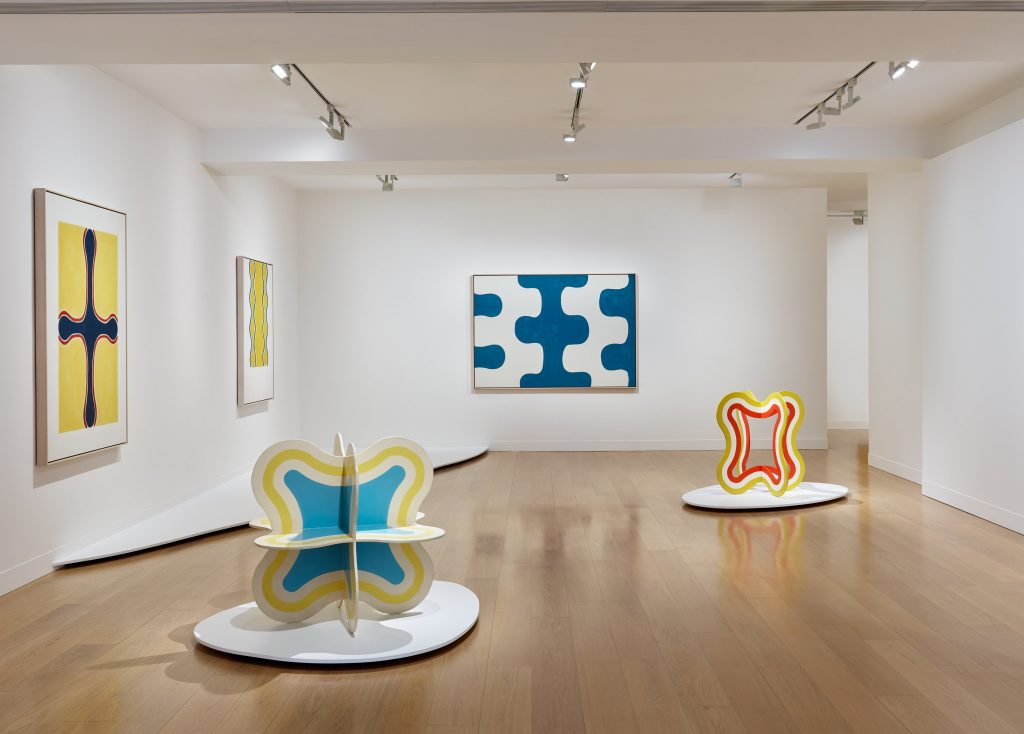 """Installation view of """"Paul Feeley: Space Stands Still."""" Courtesy of Waddington Custot."""