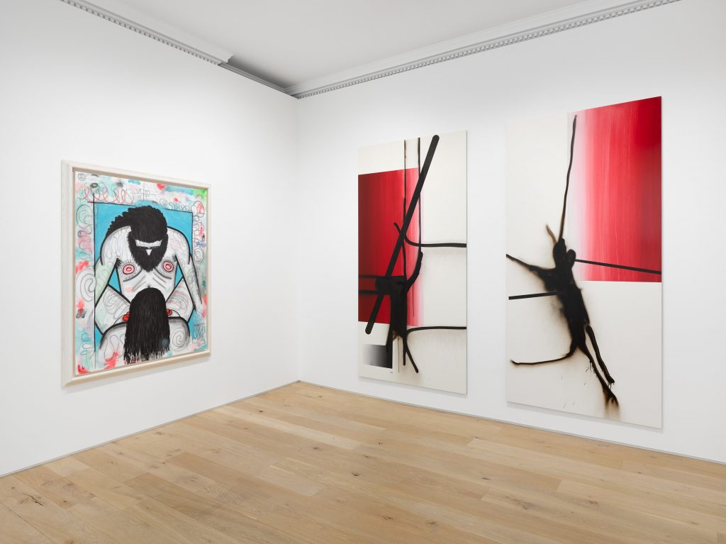 "Installation view of ""Carroll Dunham   Albert Oehlen,"" 2021. Courtesy of Galerie Max Hetzler."