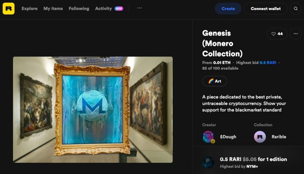 """Screenshot of a sale on Rarible for $Dough's <em>Genesis (Monero Collection)</em>, asking buyers to support the """"blackmarket standard."""""""
