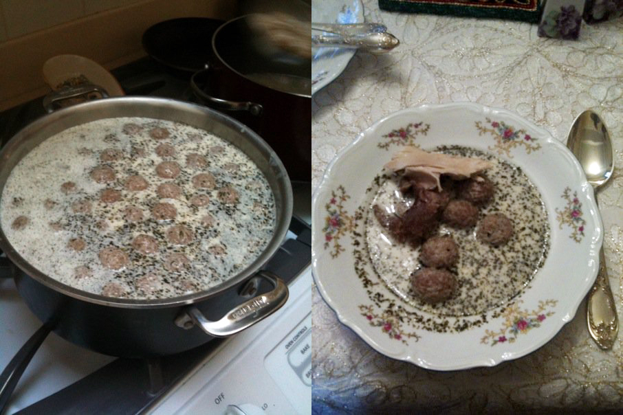 Auntie Nora's <Em>kufteli yaghene</em> soup. Photo courtesy Nina Katchadourian.