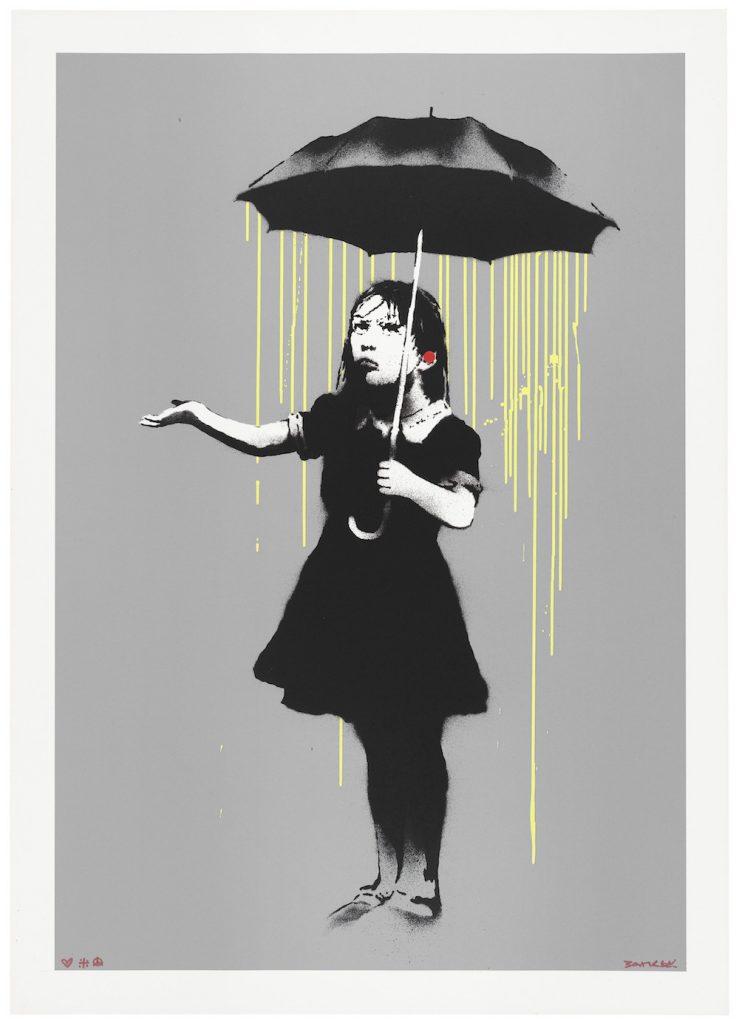 Banksy, NOLA (Yellow Rain) (2008). Image courtesy Christie's.