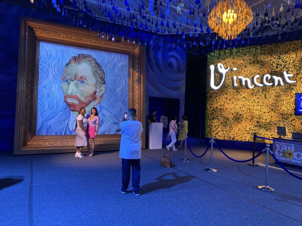 "An enormous Van Gogh self-portrait greets visitors to ""Immersive Van Gogh."" Photo by Ben Davis."