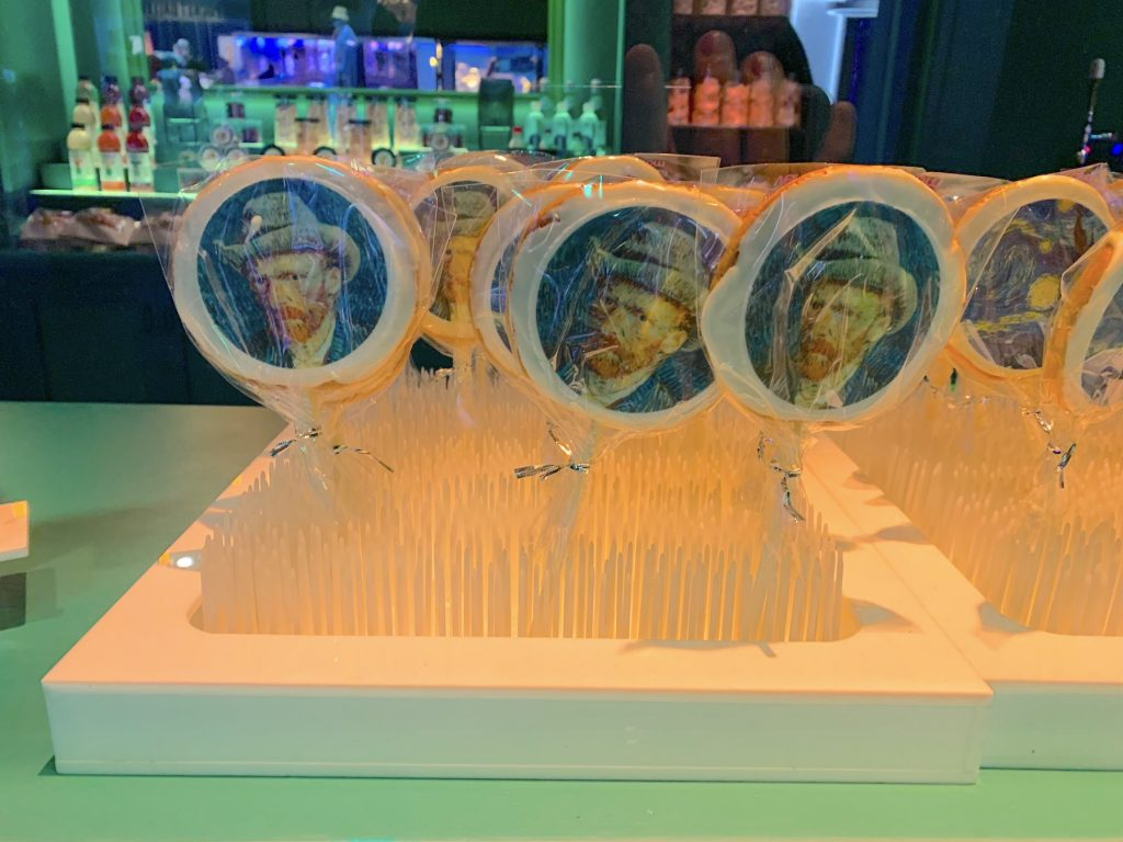 """A selection of Vincent van Gogh lollipops from the cafe in """"Immersive Van Gogh."""" Photo by Ben Davis."""